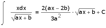 Таблица интегралов